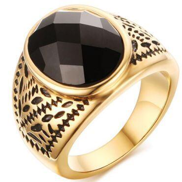 COI Gold Tone Titanium Ring With Black Agate-5764