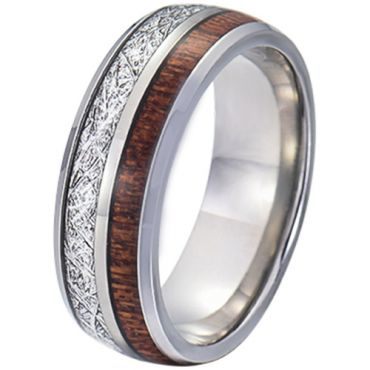 COI Tungsten Carbide Meteorite and Wood Dome Court Ring-TG5770