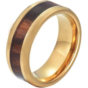 COI Gold Tone Tungsten Carbide Wood Beveled Edges Ring-TG5776