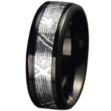 COI Black Tungsten Carbide Silver Inlays Beveled Edges Ring-TG5778