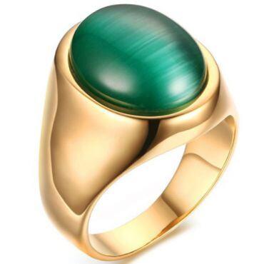 COI Gold Tone Titanium With Cat Eye Stone-5778