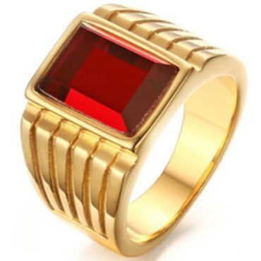 COI Gold Tone Titanium Ring With Created Red Ruby-5779