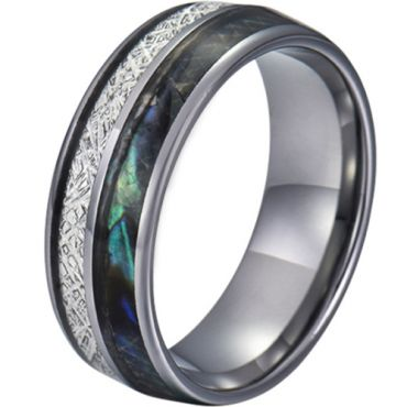 COI Tungsten Carbide Abalone Shell and Meteorite Dome Court Ring-TG5782