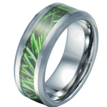 COI Tungsten Carbide Camo Beveled Edges Ring-5784
