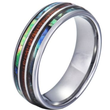 COI Tungsten Carbide Abalone Shell and Wood Dome Court Ring-5785