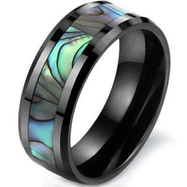 COI Black Tungsten Carbide Abalone Shell Beveled Edges Ring-5786
