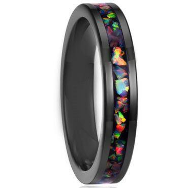 COI Black Titanium Crushed Opal Pipe Cut Flat Ring-5789