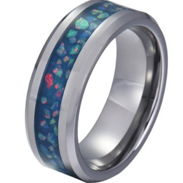 COI Tungsten Carbide Crushed Opal Beveled Edges Ring-5790