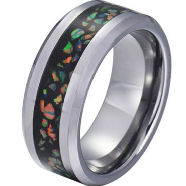 COI Tungsten Carbide Crushed Opal Beveled Edges Ring-5791