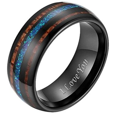 COI Black Tungsten Carbide Crushed Opal and Wood Dome Court Ring-5794