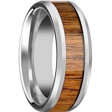 *COI Tungsten Carbide Wood Beveled Edges Ring-5795