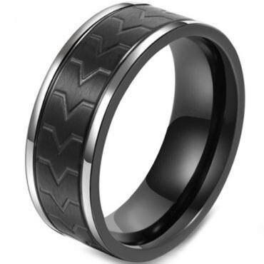 COI Titanium Black Silver Tire Tread Ring-5799