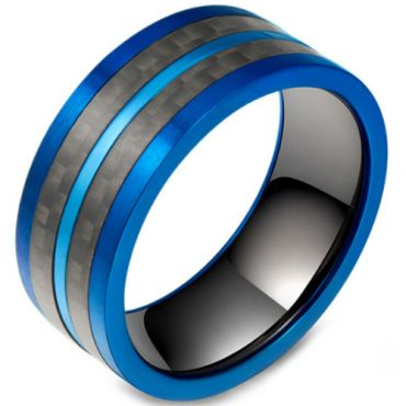 COI Titanium Black Blue Pipe Cut Flat Ring With Carbon Fiber-5800