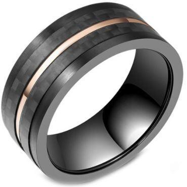 COI Titanium Black Rose Pipe Cut Flat Ring With Carbon FIber-5803