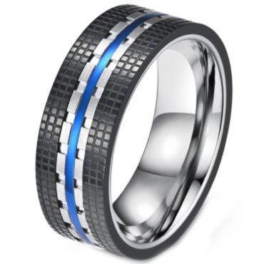 COI Titanium Black Blue Tire Tread Ring-5813