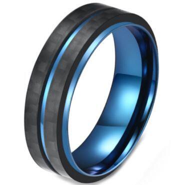 COI Titanium Black Blue Center Grooves Ring-5816