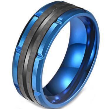 COI Titanium Black Blue Tire Tread Ring-5820