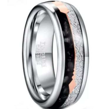 COI Tungsten Carbide Rose Silver Meteorite and Black Agate Ring With Arrows-5825