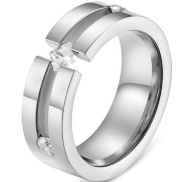 *COI Titanium Rose/Silver Center Groove Solitaire Ring With Cubic Zirconia-5831