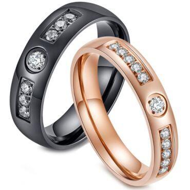 *COI Titanium Black/Rose Ring With Cubic Zirconia-5833