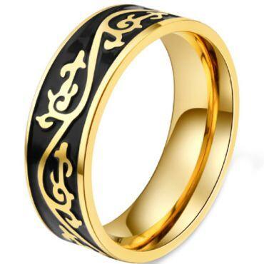 COI Titanium Black Gold Tone Celtic Pipe Cut Flat Ring-5836