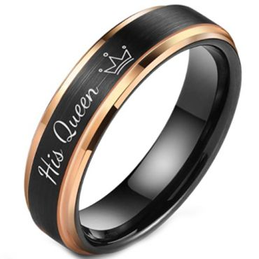 *COI Tungsten Carbide Black Rose His Queen Crown Step Edges Ring-5850