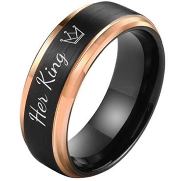 *COI Tungsten Carbide Black Rose Her King Crown Step Edges Ring-5851