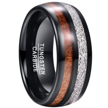 COI Black Tungsten Carbide Meteorite and Wood Dome Court Ring-5856