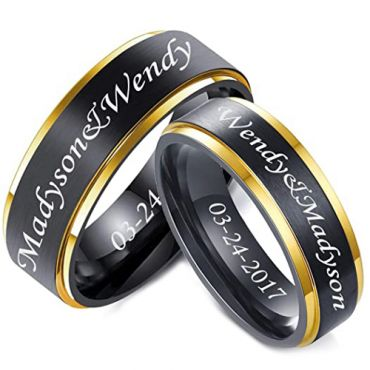 *COI Tungsten Carbide Black Rose Step Edges Ring With Custom Engraving-5861