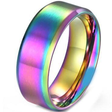 COI Titanium Rainbow Pride Beveled Edges Ring-5867