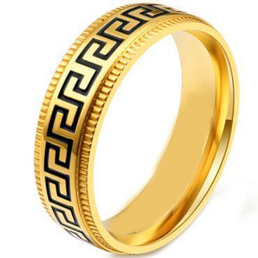*COI Titanium Black Gold Tone Greek Key Pattern Step Edges Ring-5868