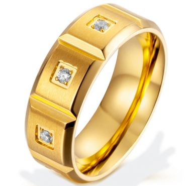 *COI Titanium Gold Tone/Silver Grooves Ring With Cubic Zirconia-5870