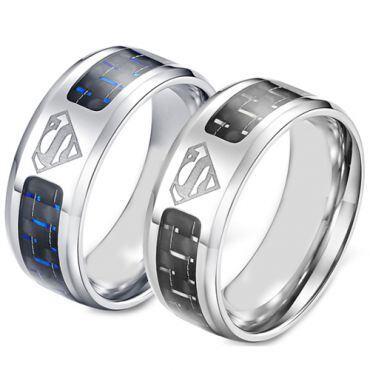 *COI Titanium Superman Ring With Black/Blue Carbon Fiber-5871