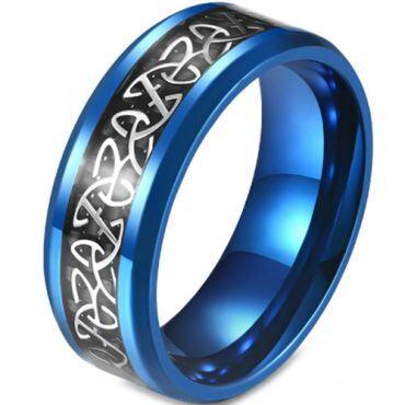 **COI Titanium Black/Blue/Silver Trinity Knots Ring With Carbon Fiber-5872