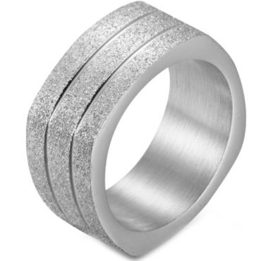 COI Titanium Black/Gold Tone/Silver Square Double Grooves Sandblasted Ring-5876