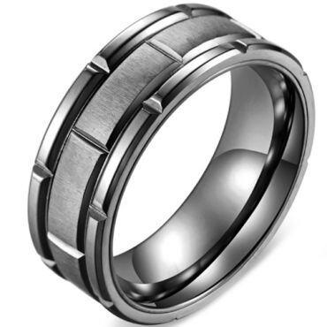 *COI Titanium Black/Rose Tire Tread Brick Pattern Ring-5878