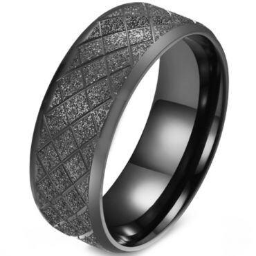 COI Titanium Black/Gold Tone/Blue/Silver Grooves Sandblasted Beveled Edges Ring-5879