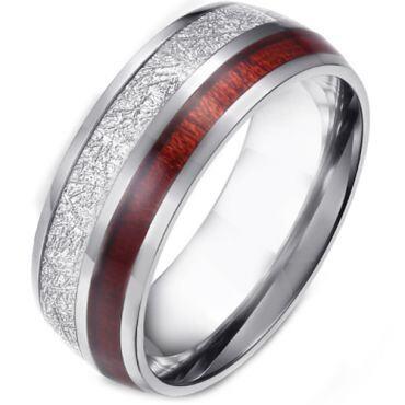 *COI Titanium Gold Tone/Silver Meteorite & Wood Dome Court Ring-5881