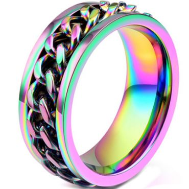 COI Titanium Rainbow Pride Keychain Link Ring-5886