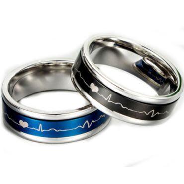 **COI Titanium Silver Blue/Black Heartbeat & Heart Ring-5887