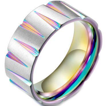 COI Titanium Rainbow Pride Grooves Ring-5891