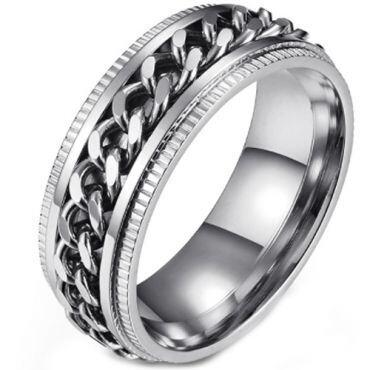 **COI Titanium Rose/Silver/Black Keychain Link Step Edges Ring-5893