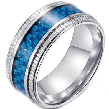 **COI Titanium Ring With Black/Blue Carbon Fiber-5894