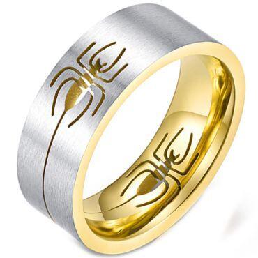 *COI Titanium Silver Black/Gold Tone Spider Pipe Cut Flat Ring-5895