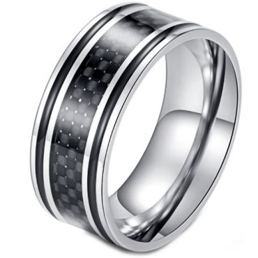 *COI Titanium Black Silver Carbon Fiber/Wood Ring-5898