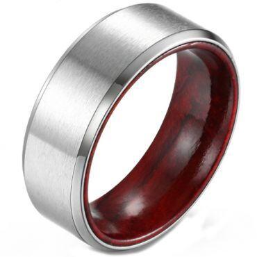 COI Titanium Beveled Edges Ring With Wood-5902