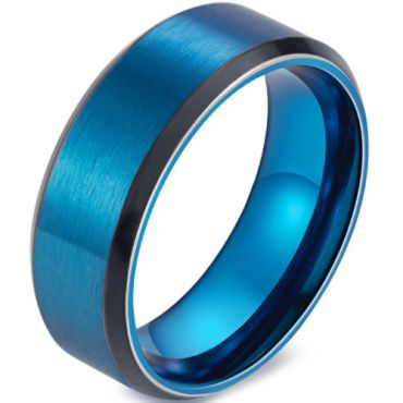 *COI Titanium Black Blue Beveled Edges Ring-5909