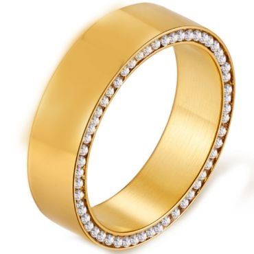 *COI Gold Tone Titanium Pipe Cut Flat Ring With Cubic Zirconia-5910