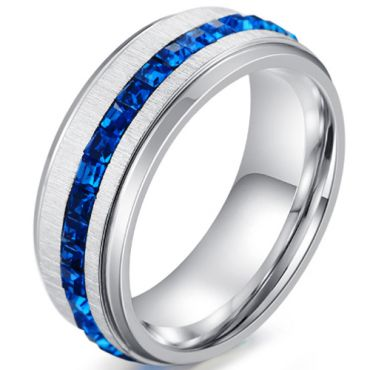*COI Titanium Ring With Created Blue Sapphire-5911