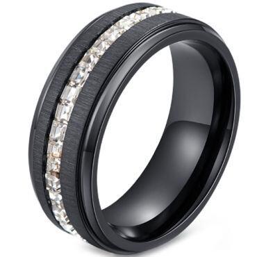 *COI Black Titanium Step Edges Ring With Cubic Zirconia-5912